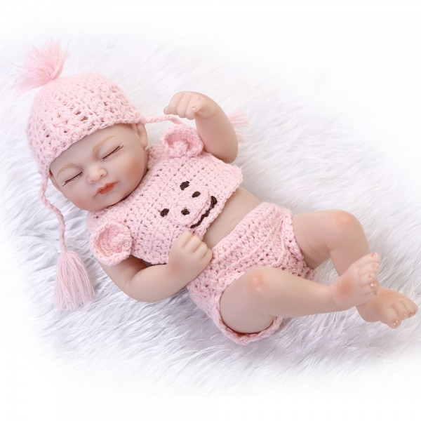 Sleeping Reborn Girl Doll Lifelike Poseable Silicone Preemie Baby Doll 10inch