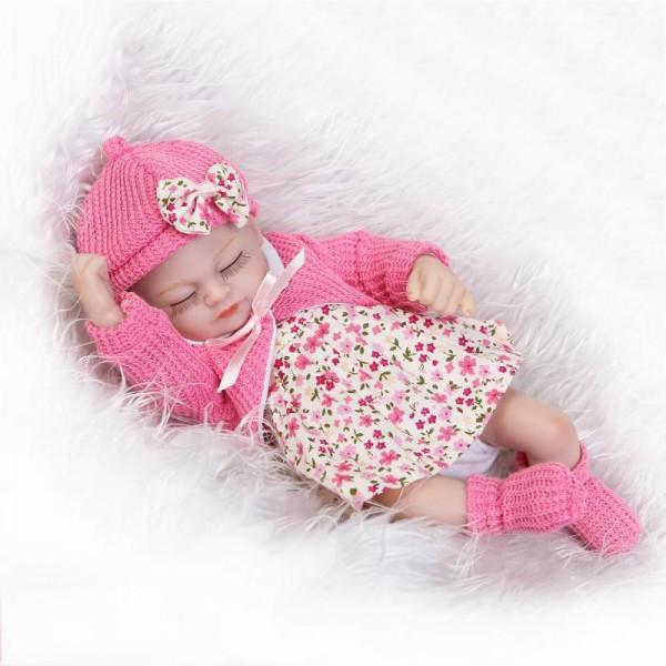 Silicone Sleeping Reborn Girl Doll Lifelike Realistic Preemie Baby Doll 10inch
