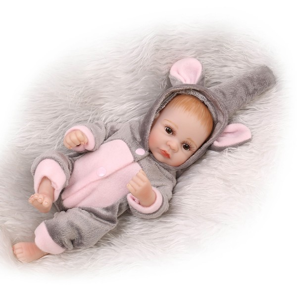 Big Eyes Reborn Girl Doll Lifelike Poseable Silicone Preemie Baby Girl Doll 10inch