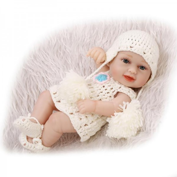 Reborn Girl Doll Preemie Lifelike Poseable Silicone Baby Girl Doll 10inch