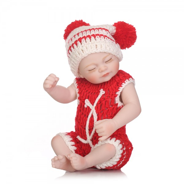 Cute Sleeping Reborn Baby Girl Lifelike Poseable Silicone Painted Hair Preemie Doll 10inch