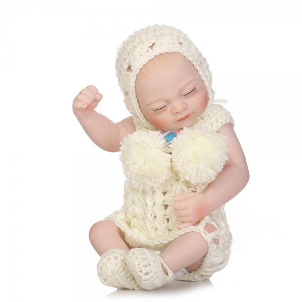 Sleeping Reborn Baby Girl Doll Lifelike Poseable Silicone Vinyl Preemie Doll 10inch