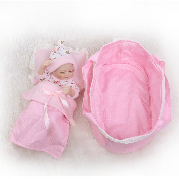 Sleeping Reborn Girl Doll In Bubble Dress Lifelike Poseable Silicone Preemie Baby Doll 10inch