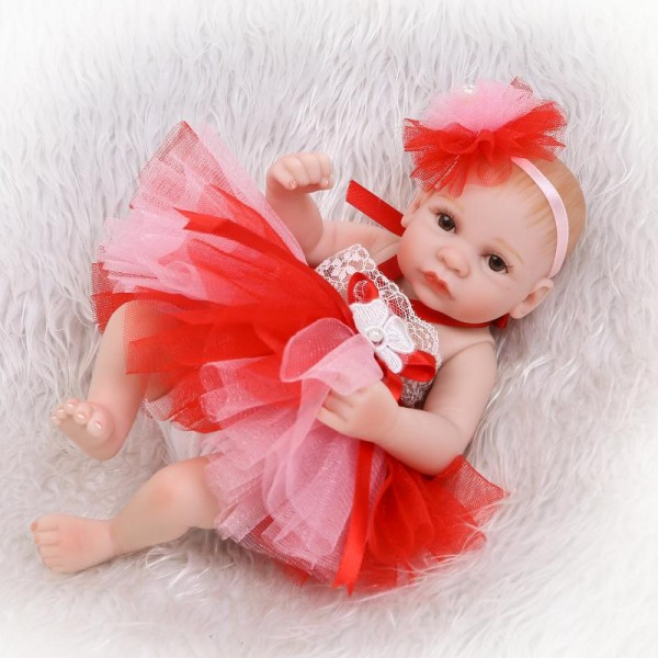 Reborn Girl Doll In Bubble Dress Lifelike Poseable Silicone Preemie Baby Girl Doll 10inch