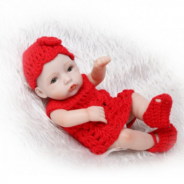 Mini Reborn Girl Doll Lifelike Realistic Poseable Silicone Vinyl Preemie Baby Girl Doll 10inch