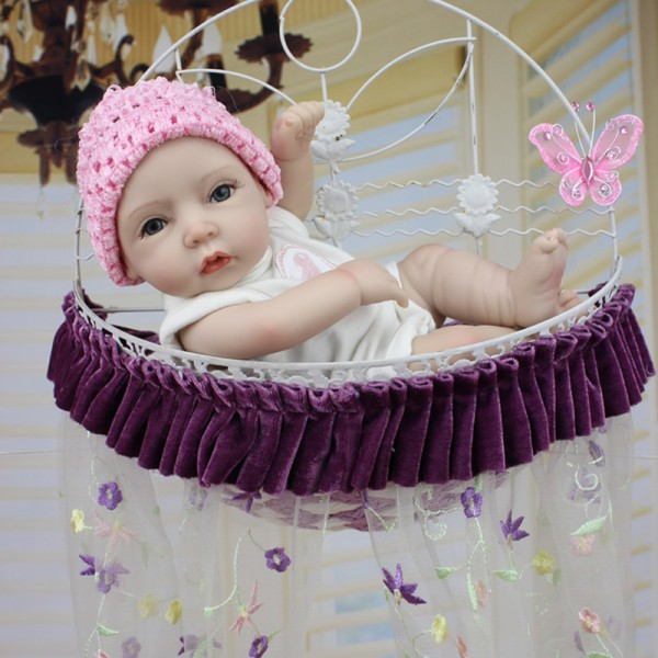 Silicone Reborn Girl Doll Poseable Lifelike Painted Hair Preemie Baby Doll 11inch