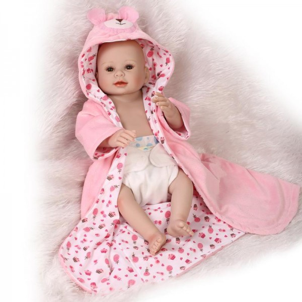 Reborn Girl Doll Lifelike Realistic Silicone Vinyl Painted Hair Baby Girl Doll 20inch