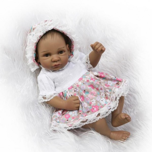Small Baby Doll lifelike Silicone Mini Black Reborn Doll 11 inches