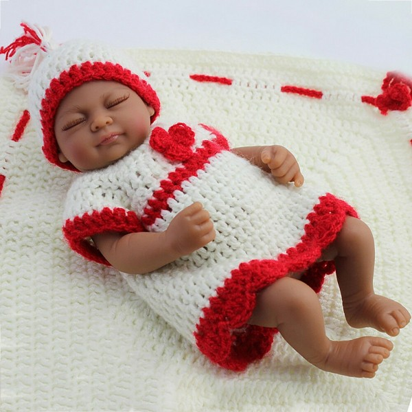 Sleeping Full Silicone Girl Doll Handmade African American Baby Dolls 10 inches