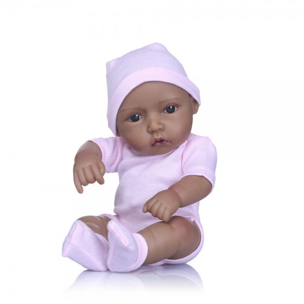 Black Reborn Baby Girl Doll Full Body Silicone Lifelike Newborn Doll 10 Inches