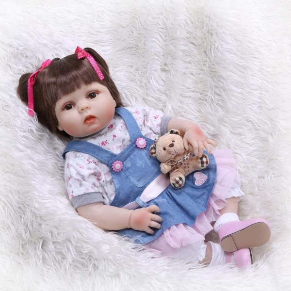 Pretty Reborn Girl Doll Lifelike Realistic Poseable Silicone Baby Doll 22.5inch