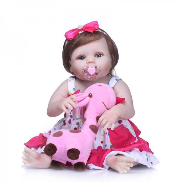 Realistic Reborn Baby Girl Doll Lifelike Silicone Baby Doll 22inch With Toy