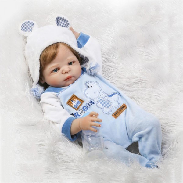 Poseable Reborn Boy Doll Look Real Newborn Lifelike Silicone Baby Doll 22.5inch