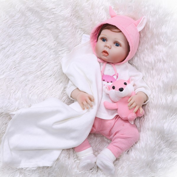 Lifelike Reborn Girl Baby Doll Realistic Rooted Mohair Silicone Poseable Doll 22.5inch