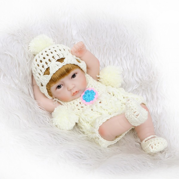 Mini Silicone Reborn Girl Doll Lifelike Poseable Preemie Baby Doll 10inch