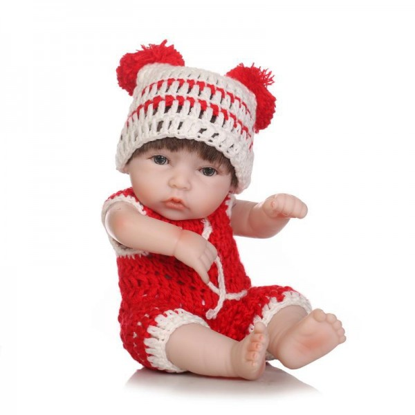 Reborn Girl Doll In Red Romper Lifelike Poseable Silicone Preemie Baby Doll 10inch