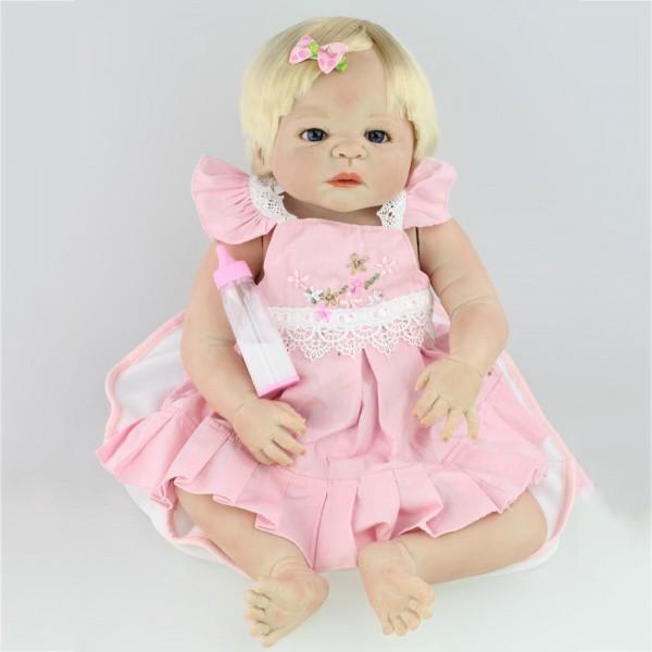 Pretty Reborn Baby Doll Lifelike Realistic Silicone Vinyl Blonde Hair Girl Doll 22inch
