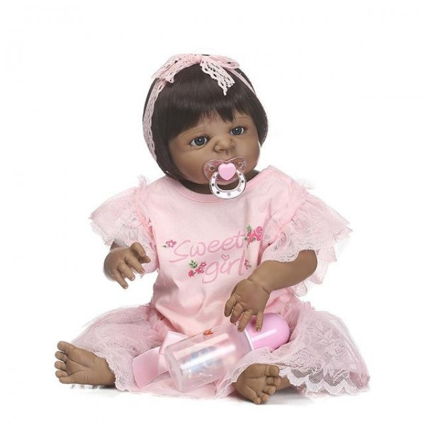 Full Body Silicone Black Reborn Doll Lifelike African American Toddler Dolls 22.5 Inches