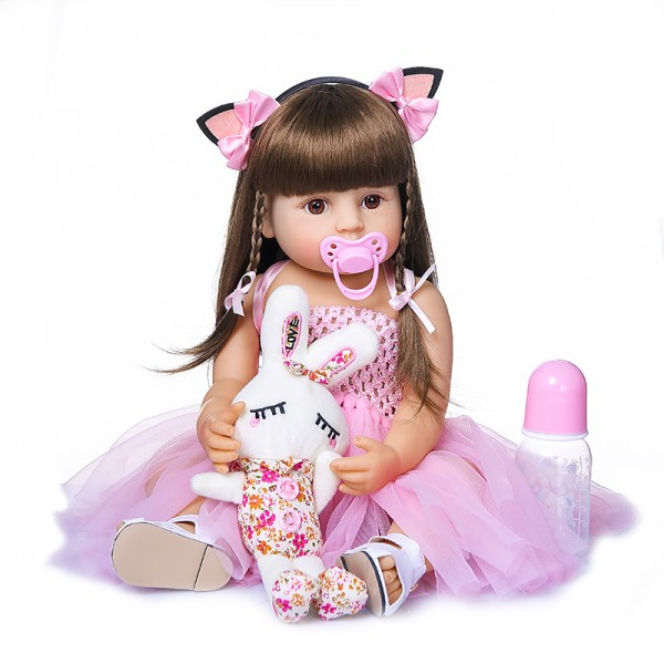 Full Body Silicone Reborn Doll Pink Princess Reborn Toddler Girl 22inches
