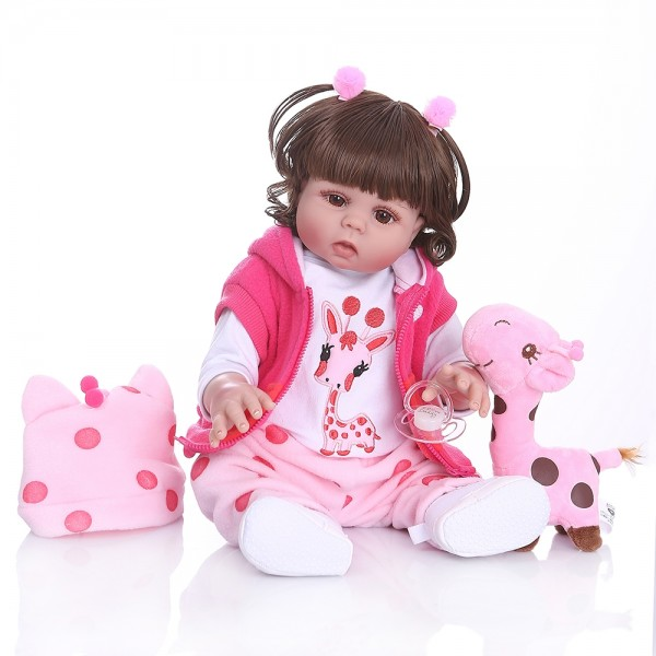 Waterproof Reborn Toddler Girl Curly hair Silicone Realistic Baby 19inch