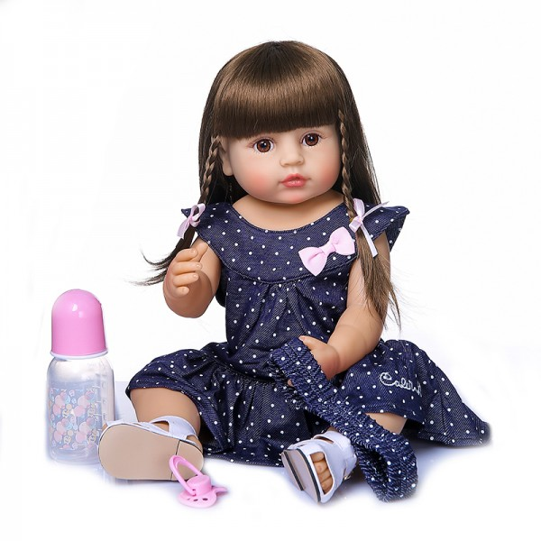 Full Body Silicone Doll Toy Reborn Baby Toddler Girl 22inches