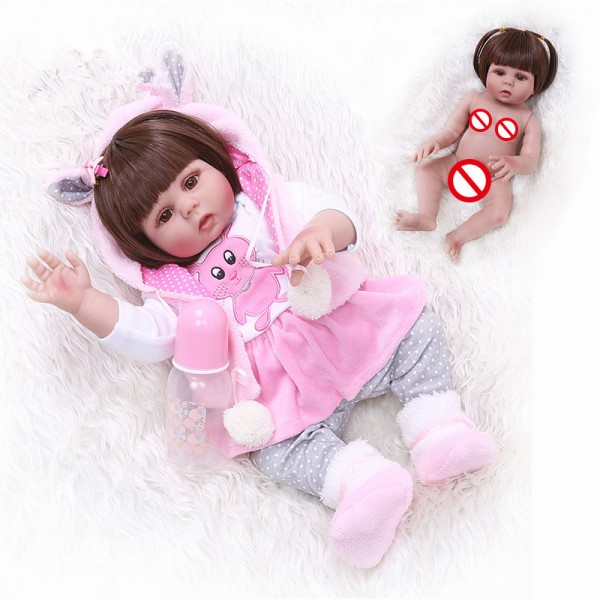 Full Body Soft Silicone Reborn Baby Dolls Waterproof Baby Doll Girl 19inches