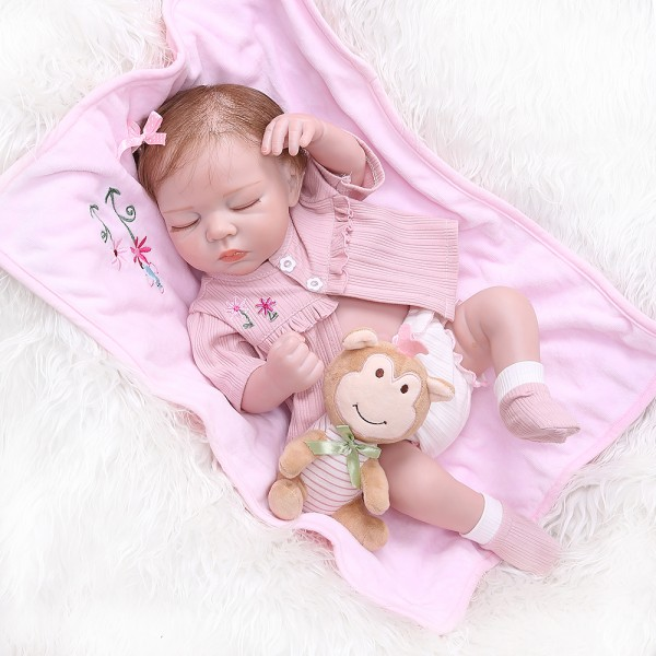 Newborn Realistic Reborn Soft Full Body Silicone Lifelike Sleeping Baby Girl 19 Inches