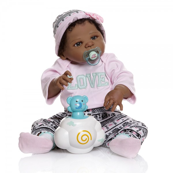 African American Reborn Baby Black Full Body Silicone Doll 22inche