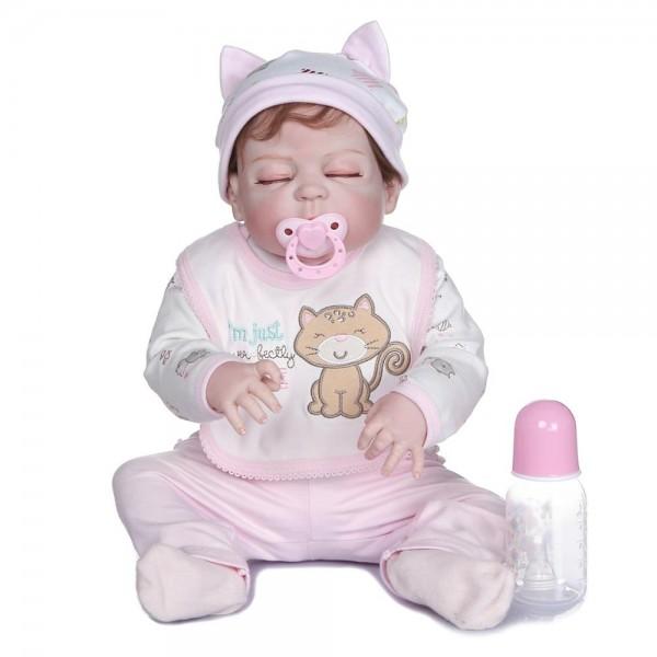 100% Handmade Lifelike Reborn Baby Full Body Silicone Baby Girl Doll 22 Inche