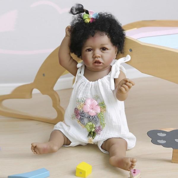 Full Body Silicone Doll Handmade Soft Realistic Black Baby Girl Dolls 22inche