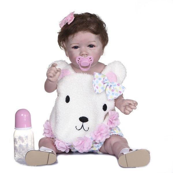 High Quality Waterproof Realistic Baby With Hair Soft Full Body Silicone Doll 22inche