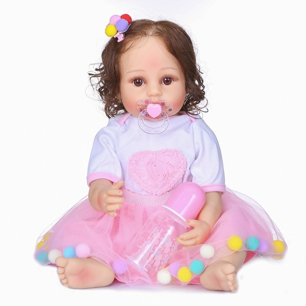 Look Realistic Reborn Dolls Full Silicone Handmade Newborn Baby Girl Dolls 22inche