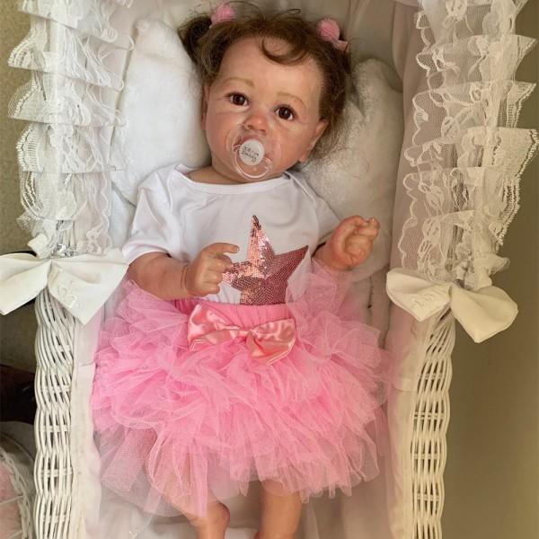 100% Hand-Made Lifelike Girl Doll Full Body Soft Silicone Reborn Baby 22Inche