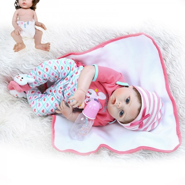 Hand Rooted Curly Fiber Hair Full Body Slicone Soft Reborn Baby Girl Doll 22Inche