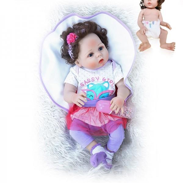 Real Flexible Touch Lifelike Reborn Baby Girl Waterproof Full Body Slicone Baby Doll 22Inche