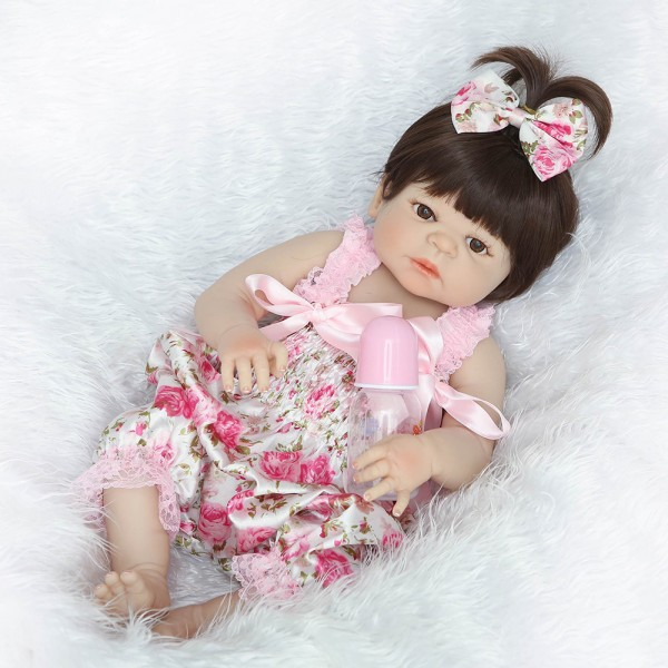 Pretty Reborn Girl Doll Lifelike Poseable Silicone Newborn Baby Doll 22.5inch