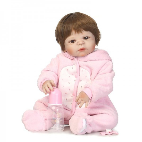 Pink Silicone Reborn Girl Doll Lifelike Realistic Baby Doll 22.5inch