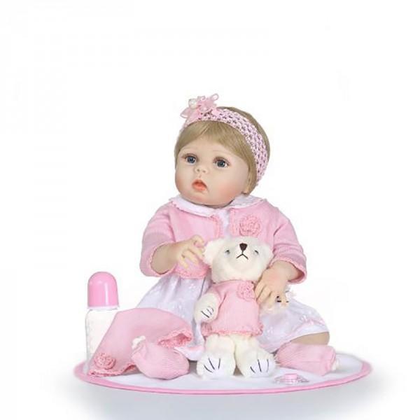 Reborn Girl Doll Lifelike Realistic Silicone Vinyl Newborn Baby Doll 22.5inch