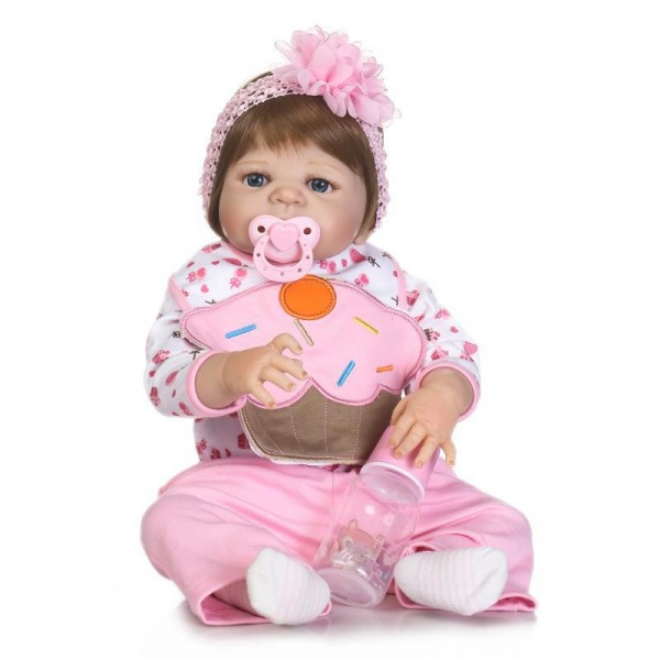 Lifelike Reborn Girl Doll Realistic Poseable Silicone Pretty Baby Doll 22.5inch