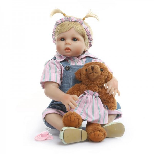 Reborn Girl Doll Blonde Hair Lifelike Realistic Silicone Pretty Baby Girl Doll 19inch