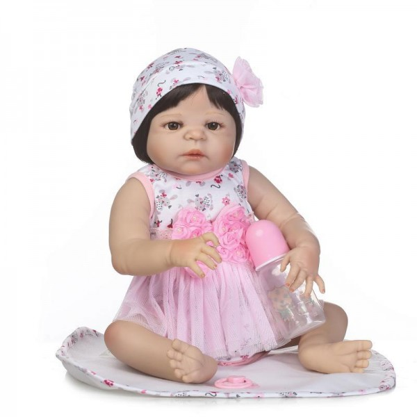 Lifelike Reborn Girl Doll In Pink Dress Silicone Baby Doll 22.5inch