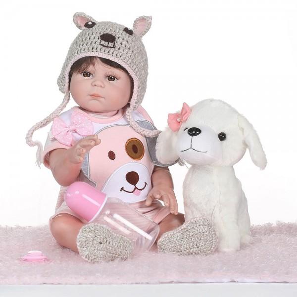 Reborn Girl Doll Lifelike Realistic Poseable Silicone Pretty Baby Girl Doll 19inch