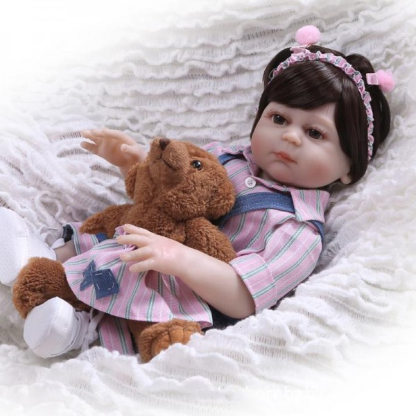 Realistic Reborn Baby Girl Doll Lifelike Poseable Silicone Girl Doll 19inch