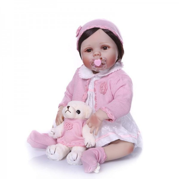 Poseable Silicone Reborn Baby Girl Doll Lifelike Realistic Cute Girl Doll 22inch
