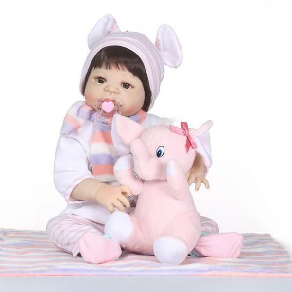 Silicone Vinyl Reborn Girl Doll Lifelike Realistic Poseable Baby Doll 22.5inch