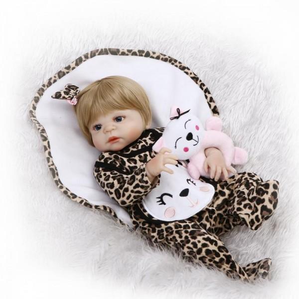 Silicone Reborn Girl Doll In Leopard Romper Lifelike Realistic Baby Doll 22inch