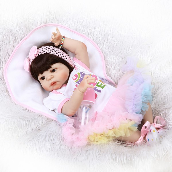 Pretty Baby Girl Doll In Rainbow Skirt Lifelike Realistic Silicone Reborn Doll 22inch