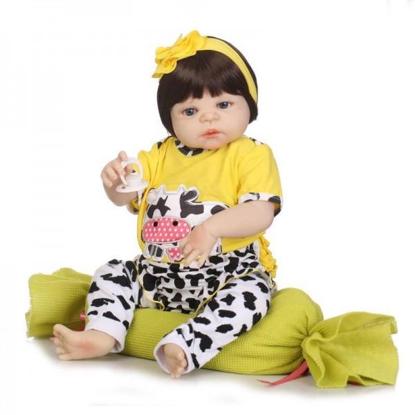 Newborn Reborn Baby Girl Doll Lifelike Realistic Poseable Soft Silicone Doll 22.5inch