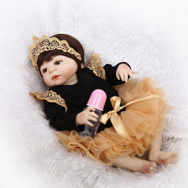 Poseable Silicone Reborn Baby Girl Doll Lifelike Realistic Newborn Girl Doll 22inch
