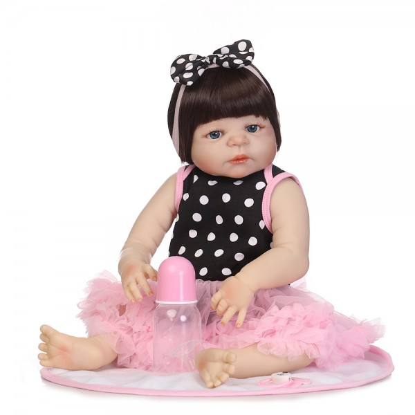 Reborn Girl Doll In Bubble Skirt Lifelike Realistic Silicone Vinyl Baby Doll 22.5inch